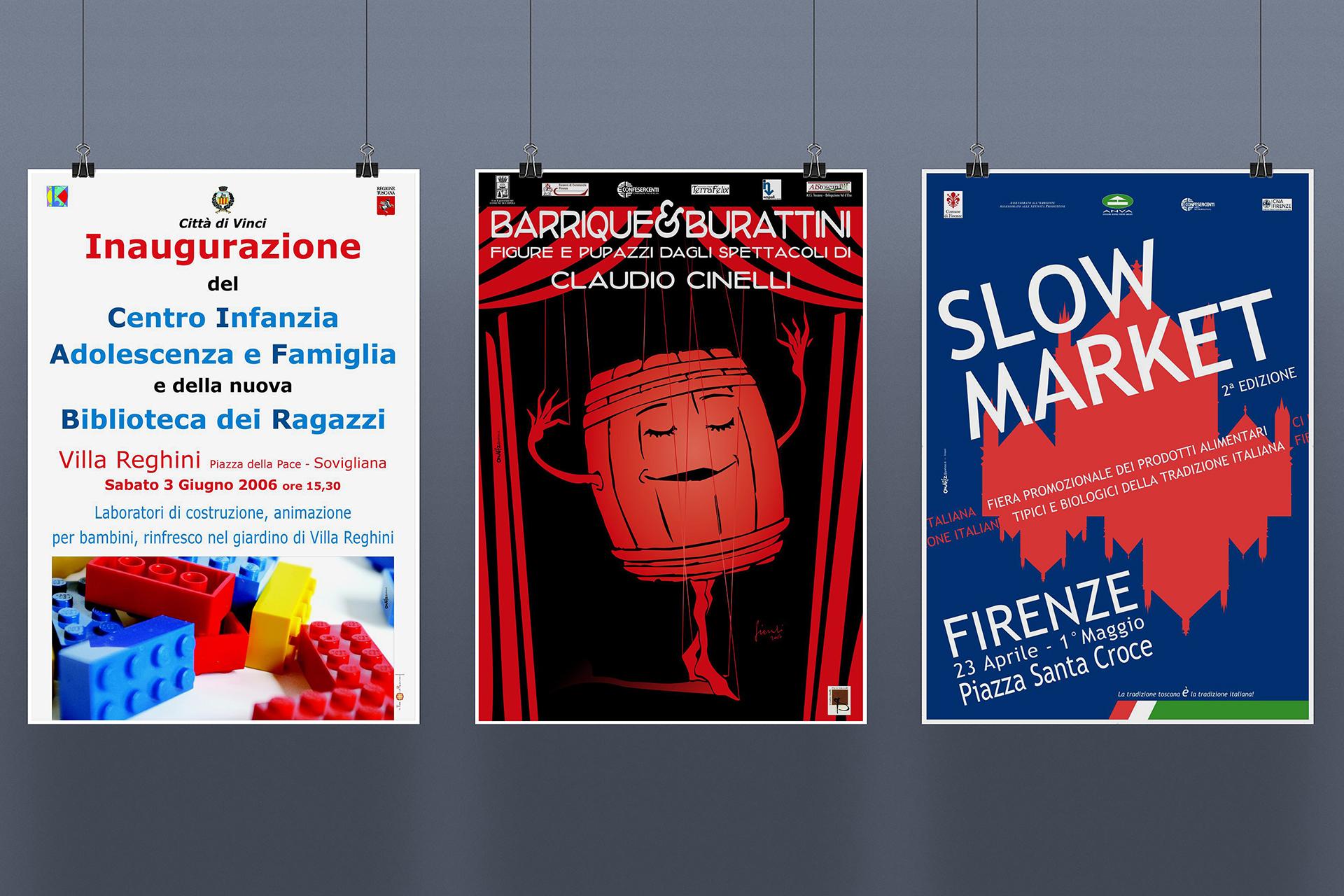 onafez design confesercenti poster adv villa regimi vinci barrique burattini claudio tinelli slow market firenze