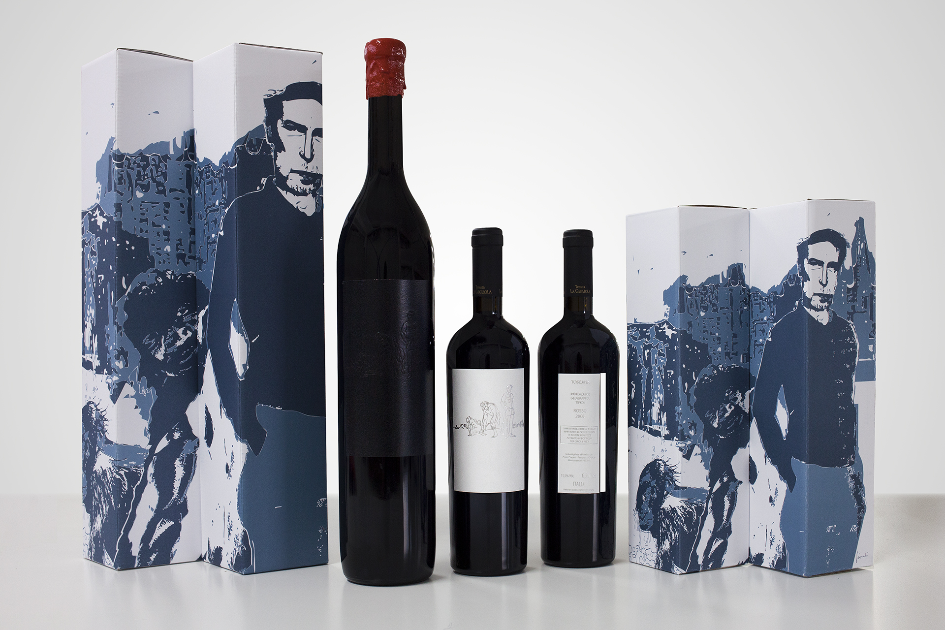 onafez design hostage vinci illustrazione xmas gift packaging label wine