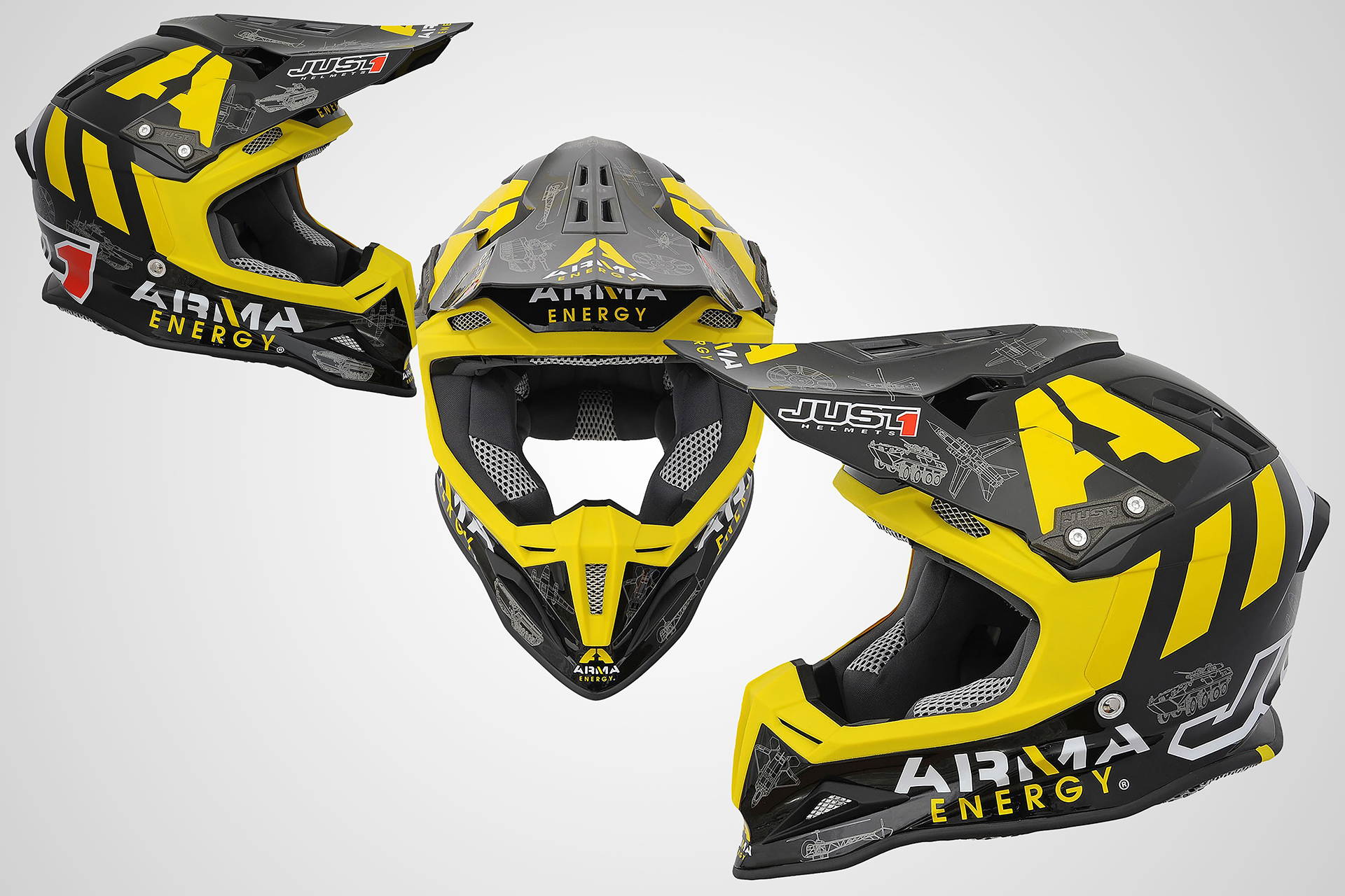 onafez design just one mx gear off-road arma energy helmets