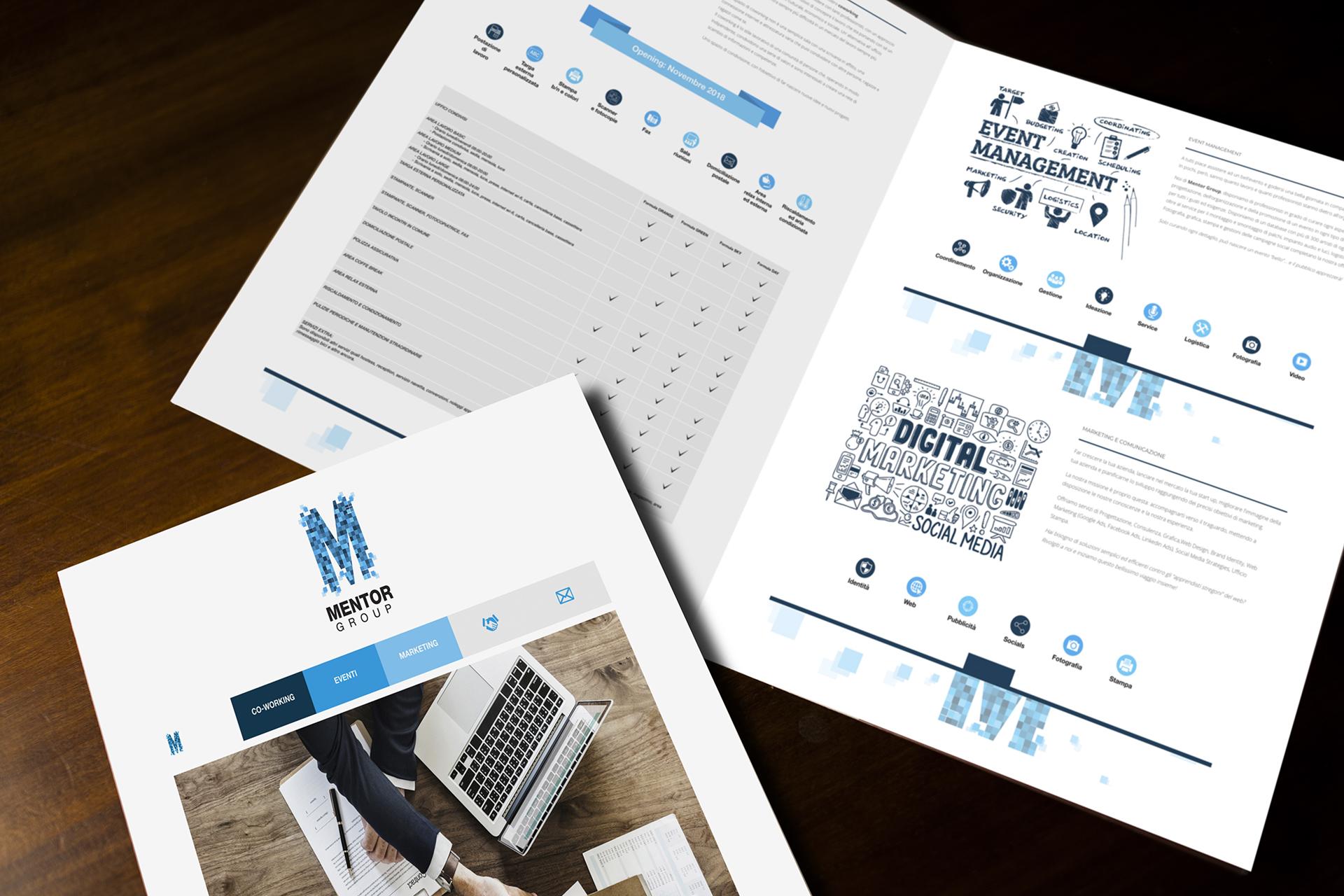 onafez design mentor group logo depliant