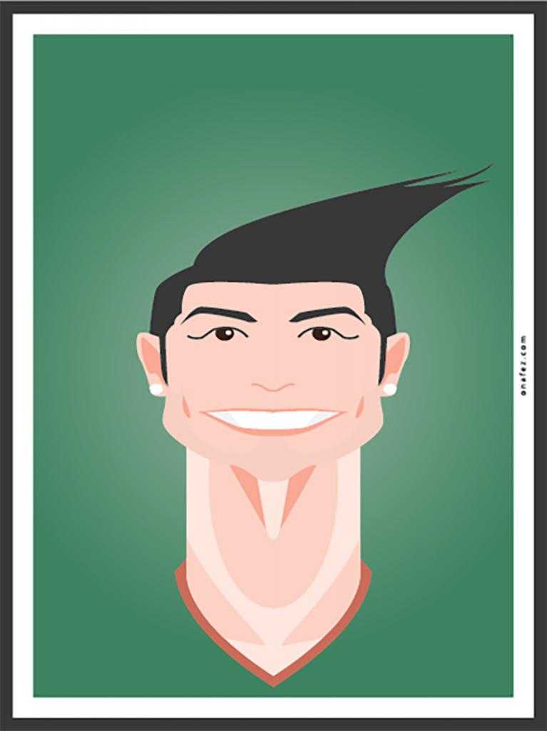 onafez, caricature, cristiano, ronaldo, cr7, calcio, ritratto