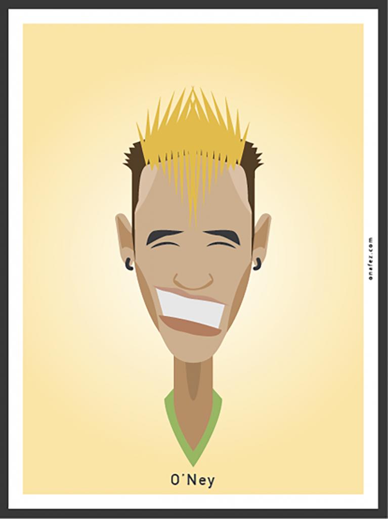 onafez, caricature, neymar, calcio, ritratto
